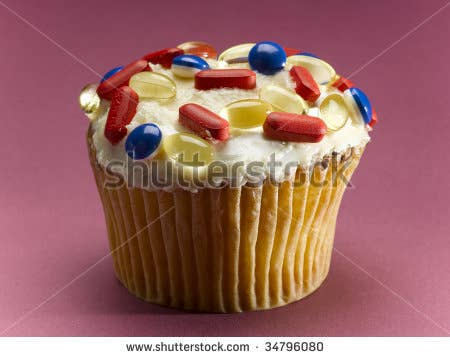 """Here's the stock photo they used, titled: """"Cupcake decorated with pills, close-up"""".I hope what happened here was a designer punked Skagway."""