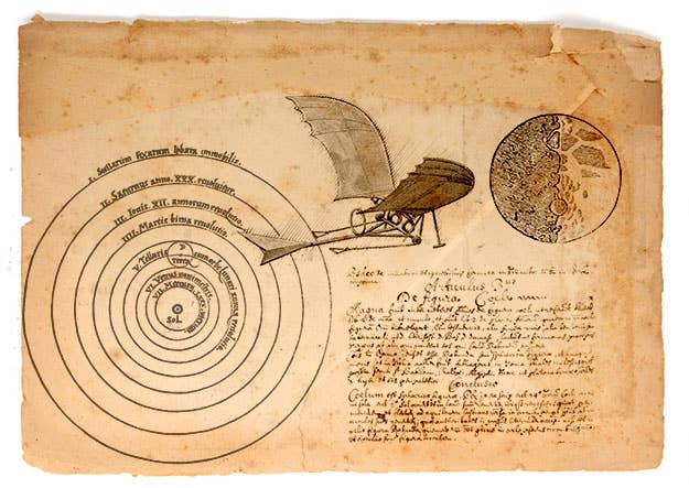 John Wilkins, a British inventor in the 1640s, was the first person to attempt to reach the moon with manned flight. Convinced the moon was populated by an alien people he called the Selenites, Wilkins was adamant that Britain reach them in order to open up trade routes.His plans were more wooden chariot than proper spaceship, consisting of a feathered vessel propelled by gunpowder. Thirty years and several scientific breakthroughs in physics and astronomy later, it was determined Wilkins' ideas were not yet feasible.