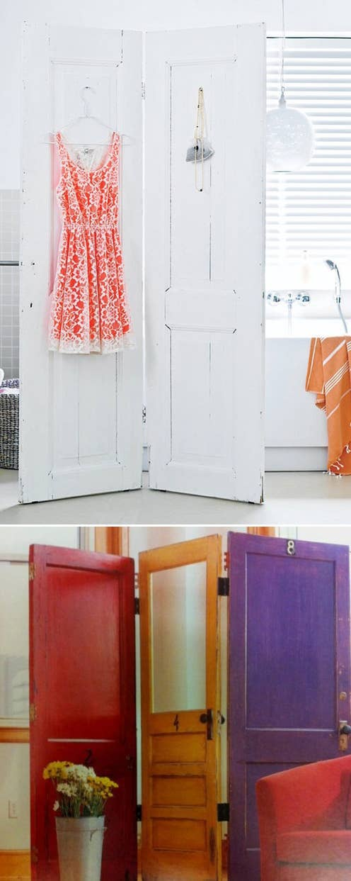 Attach 2 Or 3 Doors With Hinges To Make A Screen Like Divider