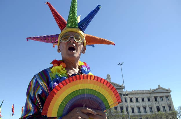 An activist wearing gay pride colors stands outside Uruguay's parliament on Dec. 11, 2012.