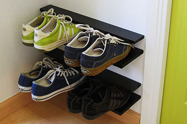 Make a floating shoe rack. & 33 Ingenious Ways To Store Your Shoes
