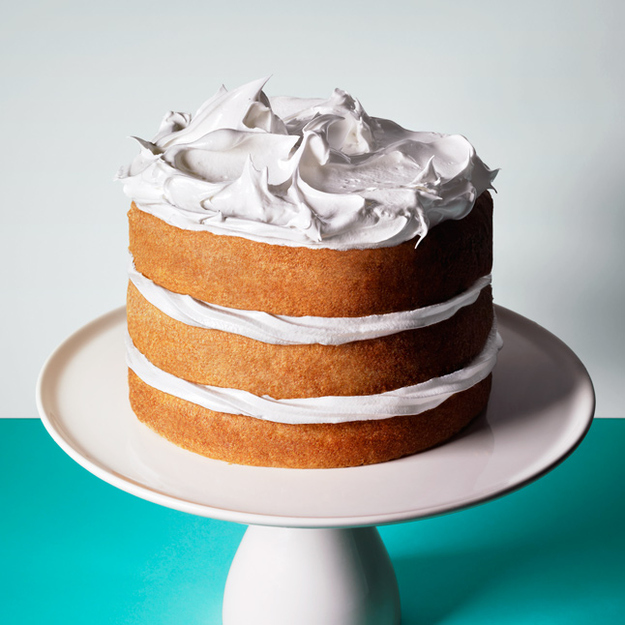 Leaving the sides of a cake unfrosted is less work and totally chic.