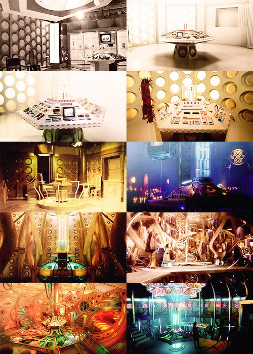 The most consistently seen part of the TARDIS, this room is used by the Doctor to single-handedly steer a time and space machine designed to be driven by no fewer than six simultaneous pilots.
