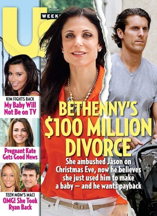 "We counted 30 mentions of the word ""divorce."" So splits like Bethenny Frankel's are of concern to tabloid editors, as are possible causes thereof:"