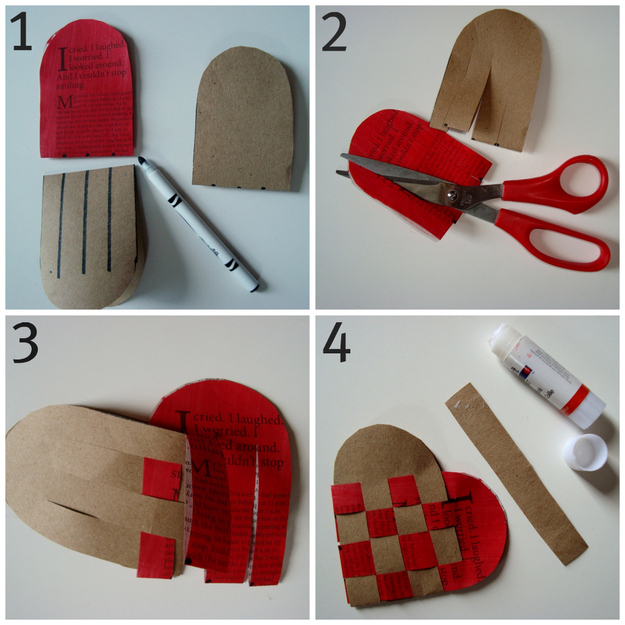 Two Woven Pieces Of Construction Paper Make A Homemade Coin Purse