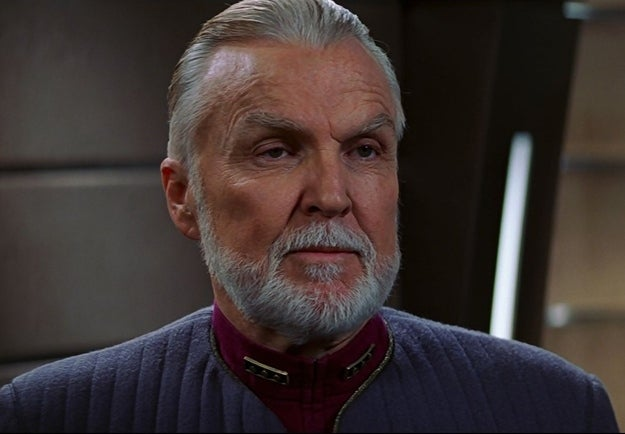 For such a seemingly benevolent institution, Starfleet has sure had its share of bad-egg admirals. This one's not even bothering to hide that he's up to no good, what with that eeeevvvvvvilllll glower of his. But I can barely recall why he was evil. Was it the beard?