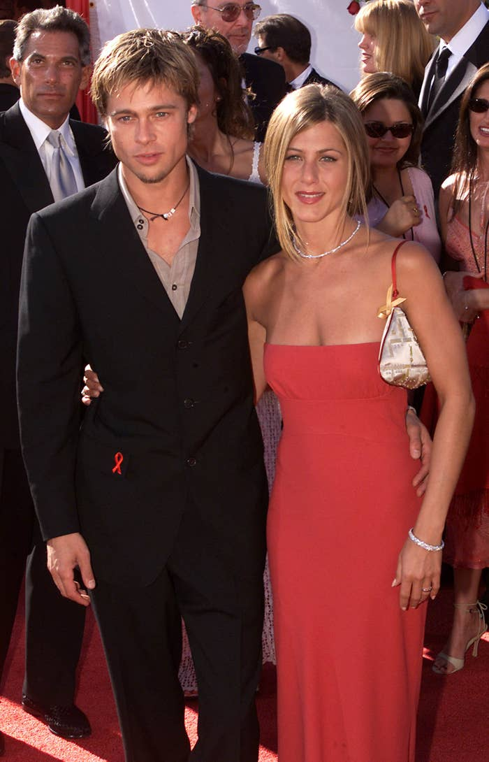 Brad Pitt and Jennifer Anniston were so cute at the 2000 Emmy Awards. They got married in Malibu on July 29, 2000. Four years later, the perfection imploded. But, we will always have this happy moment when Jen wore red and they glowed like angel babies!