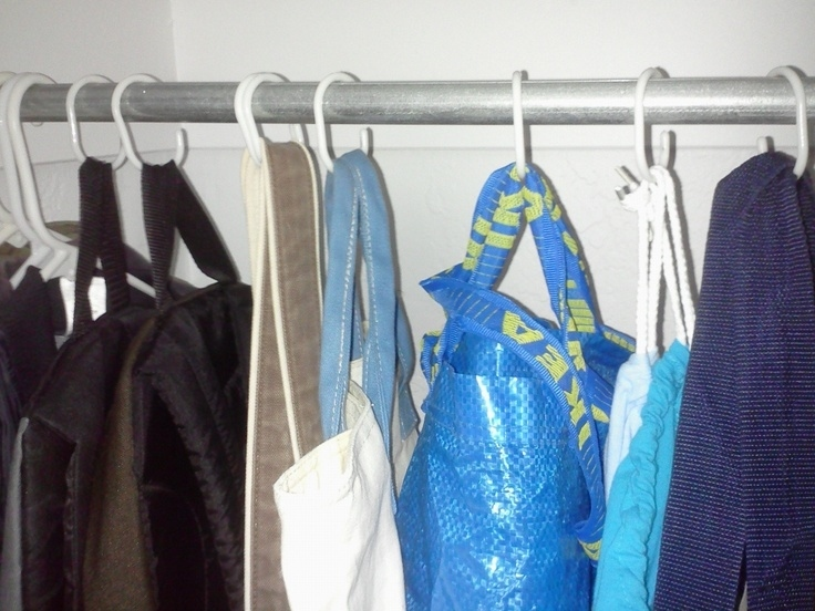 Hang Bags Up With Shower Curtain Rings And Keep Random Stuff In Them.
