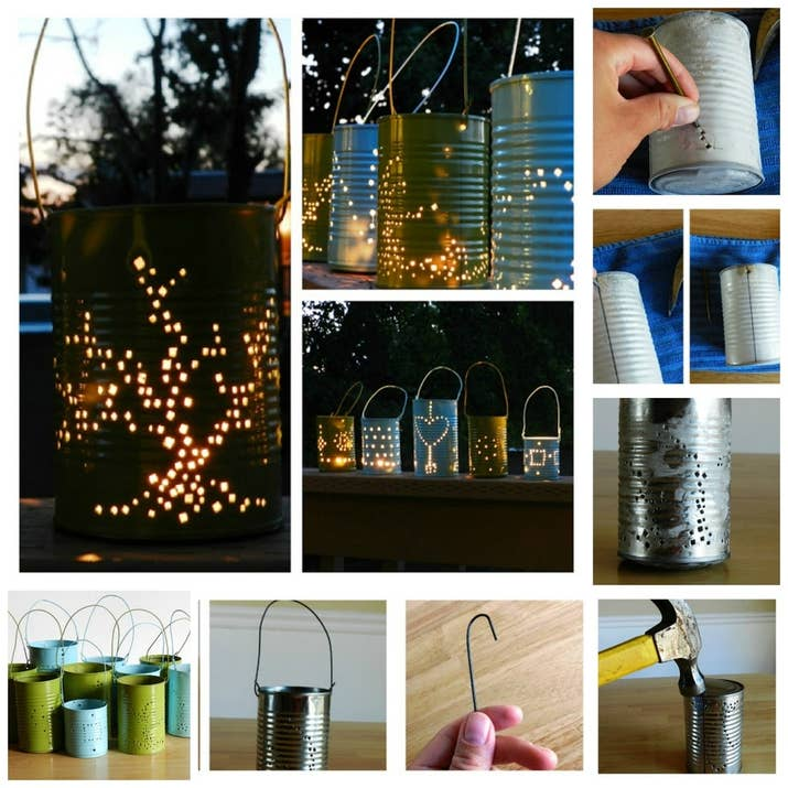 5 tin can lanterns