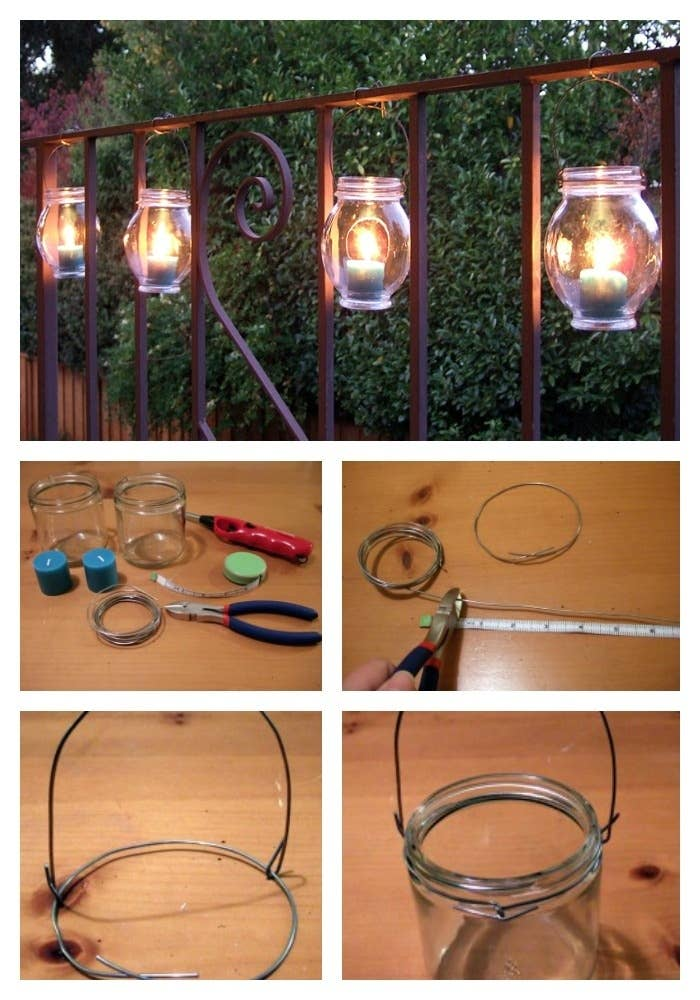 Just create little wire hangers for your jars and hang them on the railing or balcony