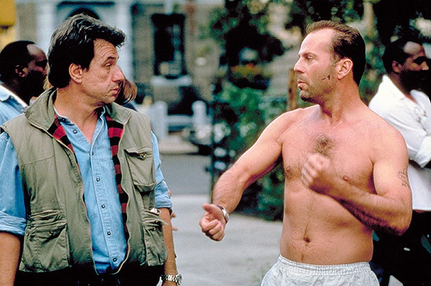 John McTiernan with Bruce Willis on set of Die Hard: With a Vengeance in 1995.