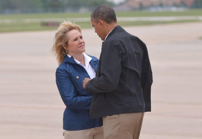 President Obama with Oklahoma Gov. Mary Fallin.