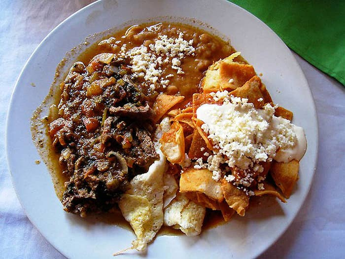 Lots of spicy things going on in this one. This breakfast from Manzanillo consists of beef tips, beans, chilaquiles, and cheese.
