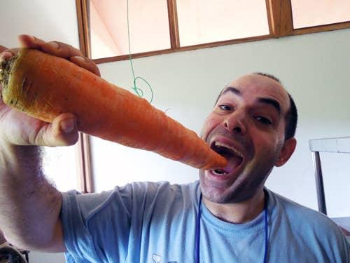 """Eso es sólo un chico con una enorme zanahoria azar, sino un científico de alimentos de primera Campbell describe las zanahorias potencia industrial como """"como ramas de árboles - son como bates de béisbol."""""""