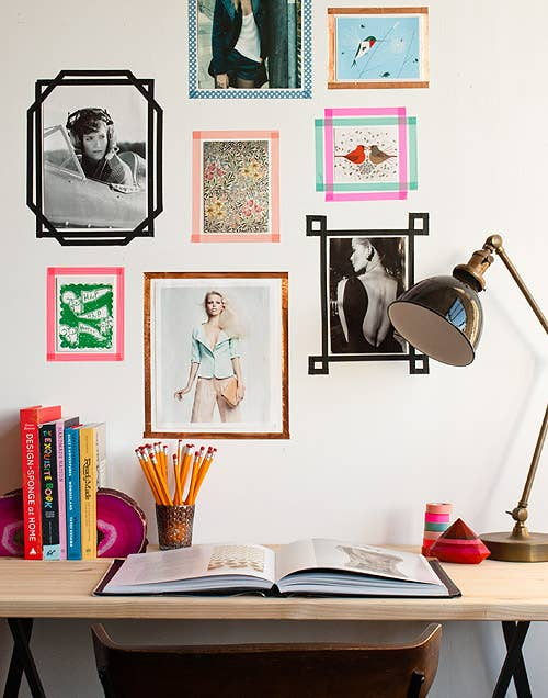 Use washi tape to make your poster collection look more cohesive. 26 Cheap And Easy Ways To Have The Best Dorm Room Ever