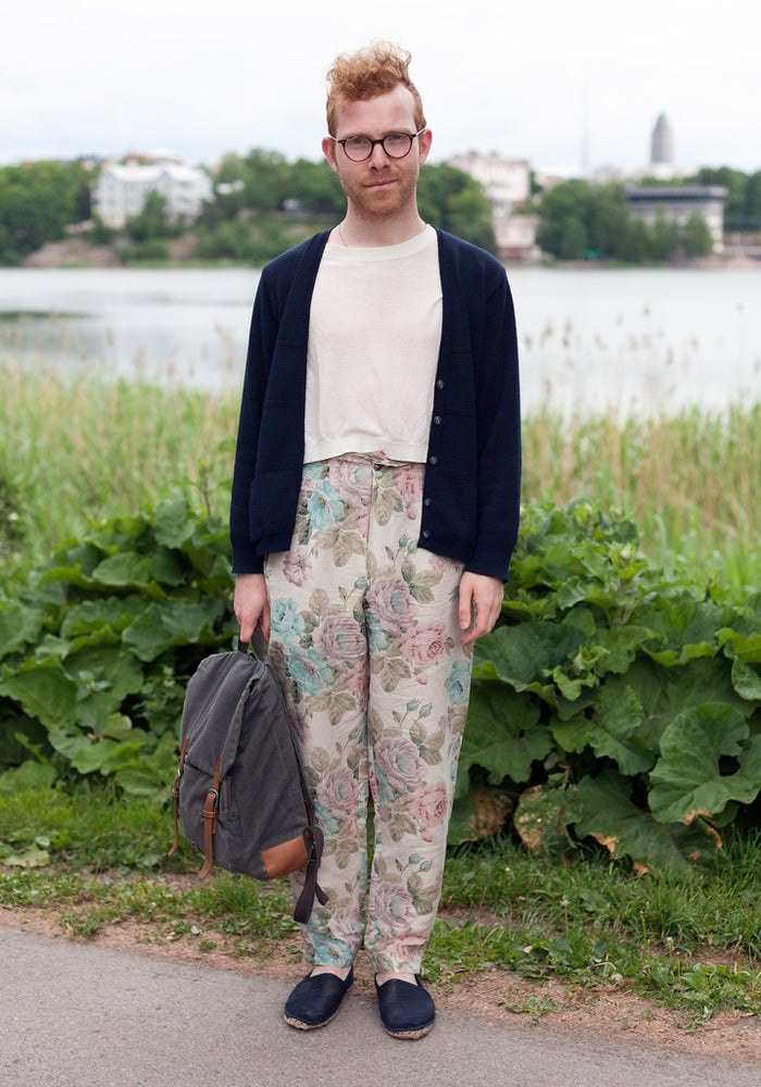 """Tim sums up his style pretty well: """"Because I'm a grandmother in heart, I decided to wear floral patterns and mix them with see-through shirts. I guess you could describe my style a mix of tomboy and crazy catlady."""" Honestly, those pants, though. BOLD."""