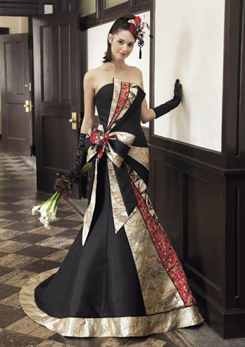 Takeda Bridal From Nara Offers A Simple Black And Gold Dress With An Accent Of Vivid