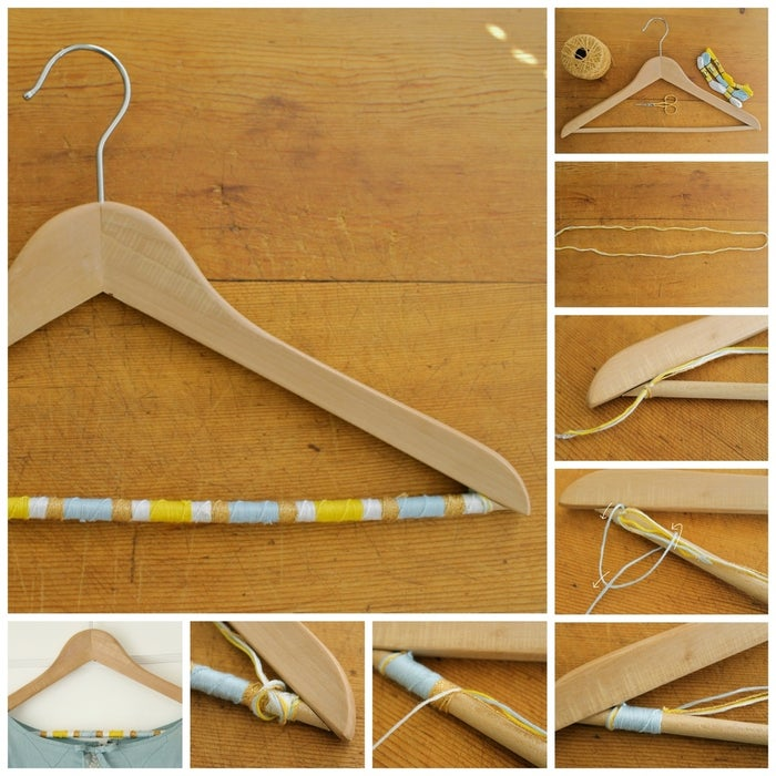 """These elegant clothing hangers were created by Becca at Lady Face Blog. They're like friendship bracelet-clothing hanger hybrids. Supplies: a hanger with a bar (preferably a wooden one), four colors of embroidery floss or thin yarn, and scissors.1. Cut a piece of embroidery floss about 36"""" long, and then cut a piece of each of the remaining colors of embroidery floss to the same length.2. Tie the bundle of embroidery floss around the bottom rung of the hanger and knot it in place. Be sure to leave about 1"""" of embroidery floss at the end of the knot so you'll be able to hide the ends.3. Select your first color of embroidery floss. With the bar of the hanger vertical and the hook of the hanger to your right, hold the remaining pieces of embroidery floss and the ends from the knot flush with the hanger bar. Then, take the selected piece of embroidery floss, bring it to the left, and then over the hanger bar, forming what looks like a """"4"""". Next, bring the end of the embroidery floss around the back of the hanger, and through the """"4"""" shape. Pull tight to make your first knot.4. Continue the above step with your first color until you have a section of color the length of your liking. When you are ready to switch to the next color, simply bring the color you were working with back to flush with the hanger bar, select the next color of embroidery floss, and repeat the above step with that color. Continue these steps, alternating colors to your liking, until you reach the end of the hanger bar.5. As you work, you will need to add additional lengths of embroidery floss to the existing ones. To do so, simply cut another 36"""" of that color and tie the new length of embroidery floss to the older one, and then trim the ends to about 1/2"""". Be sure to think ahead, so you can hide the knot under the other colors of embroidery floss as you work.6. When you reach the end of the hanger bar, tie a tight knot around it, and trim the ends.Voila! A hanger worthy of one of your favorite garm"""
