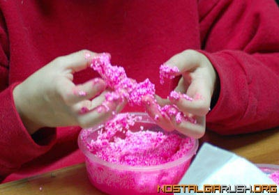 First manufactured in 1994, Floam was an airy, sticky substance (like Gak with Styrofoam pellets in it) that you could mold.