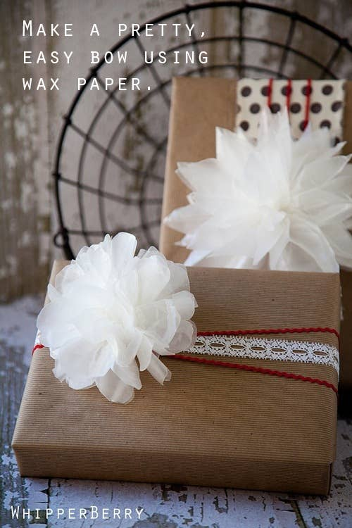 24 cute and incredibly useful gift wrap diys 12 dress up a brown box with a wax paper bow snowball fluffy thing negle Choice Image