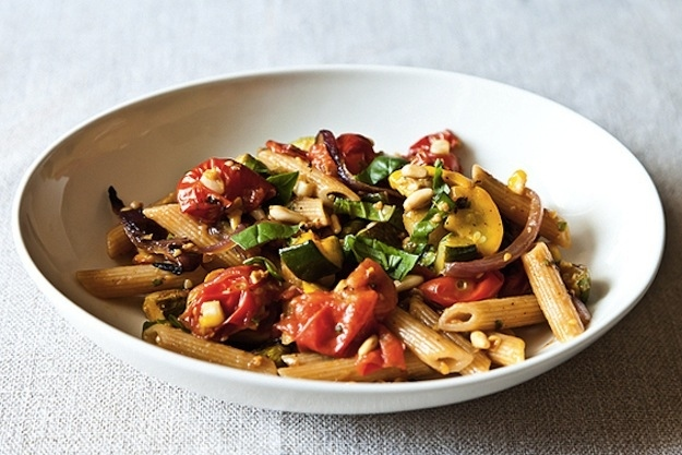 Monday Dinner: Penne with Veggies & Pine Nuts