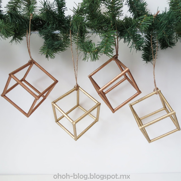 These cube ornaments are easy and modern.
