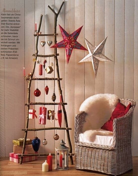 Make a branch ladder tree. - 38 Fabulous DIY Christmas Trees That Aren't Actual Trees