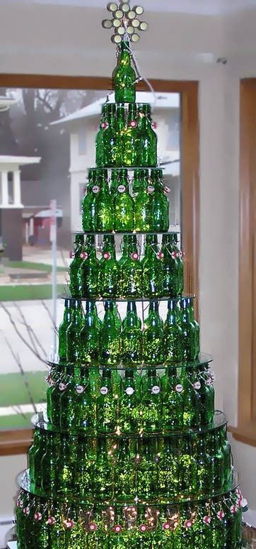 for the beer drinkers layer bottles to form a very impressive christmas tree display