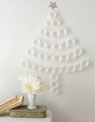 the simplest tree tape paper plates to the wall - Wall Christmas Tree