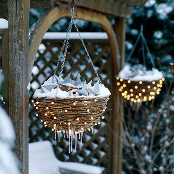 String lights around baskets or fill baskets with lights