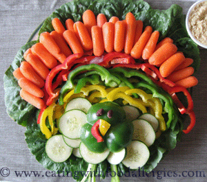 Feeling kitschy? Make a turkey centerpiece entirely out of vegetables: