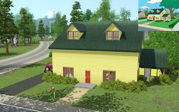 "reddit user recreates the house from ""family guy"" in ""sims 3"""