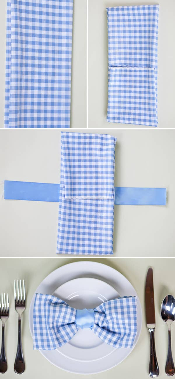 The Bowtie Napkin Fold So Cute For A Picnic Or Daytime Wedding Get Full Directions Here
