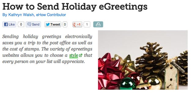 Assuming we're talking about individuals and not companies, sending an e-card as a holiday greeting reads as the laziest possible greeting one can give. It is worse than sending a simple, regular text email whose only connection to the holidays is its subject line. E-cards are highly impersonal (many limit the length of the message you can send) and frequently garish to look at. Plus, there's just something depressing about so much cheer being injected into something you never even touched. For special occasions, it's best to be a little old-fashioned.