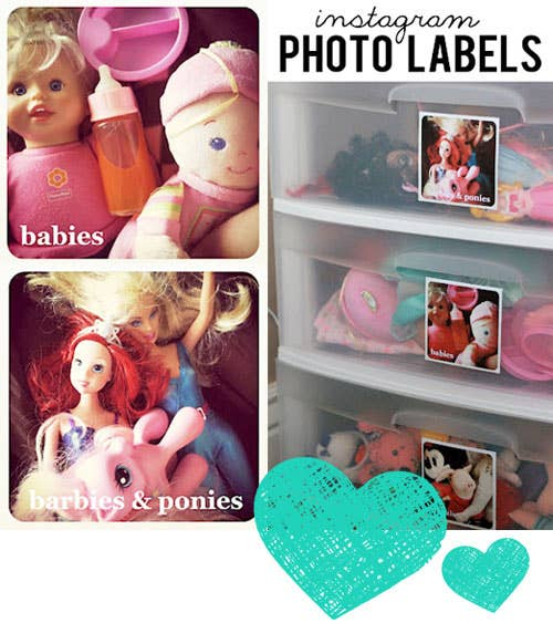Print out Instagram photos to label drawers.