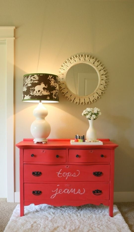 Paint a dresser in chalkboard paint so you can easily label the contents.