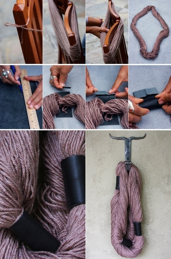 Wrap A Skein Of Yarn Around The Back Of Chair And Secure With Three Pieces  Of