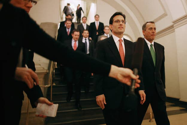 House Majority Leader Eric Cantor, left, and House Speaker John Boehner, along with House Majority Whip Kevin McCarthy (not pictured), are leading the House's defense of the Defense of Marriage Act.