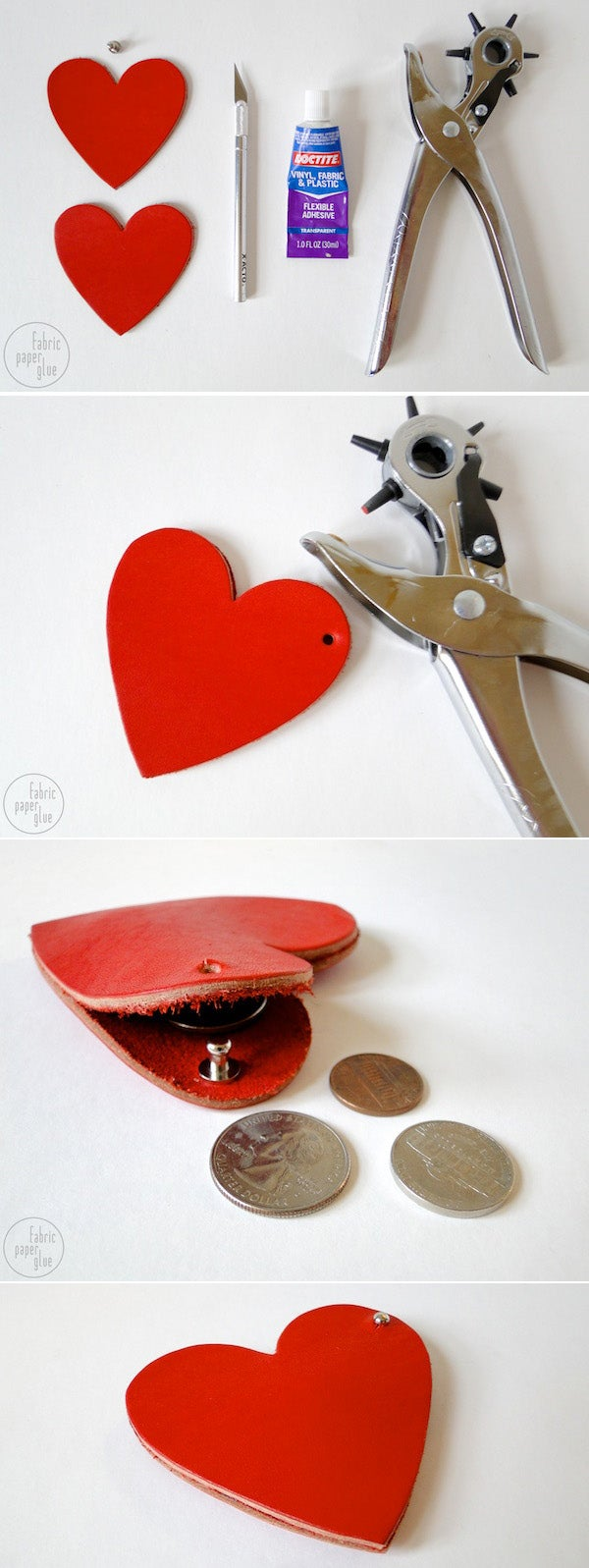 Get the directions here (and swap fabric or canvas for leather, and a nail for the hole punch, if you don't happen to have those on hand).
