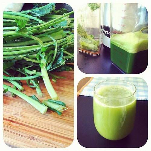 Put any leftover kale and celery stalks through a juicer.