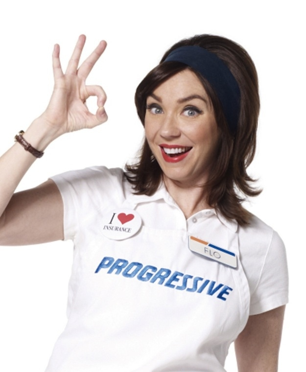 Flo from Progressive Insurance, a popular spokeswoman and promoter of the company's brand.