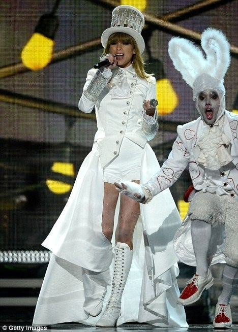 Taylor Swift opened the Grammys on Sunday in a top hat and tails mat hatter style of Neo-Victorian steampunk style you tell us .