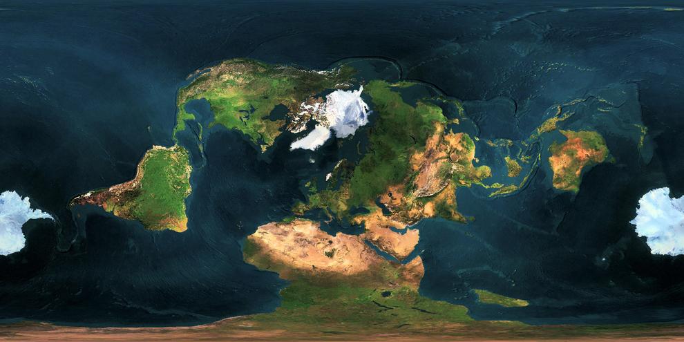Este mapa toma como centro un punto diferente al que estás acostumbrado a ver:
