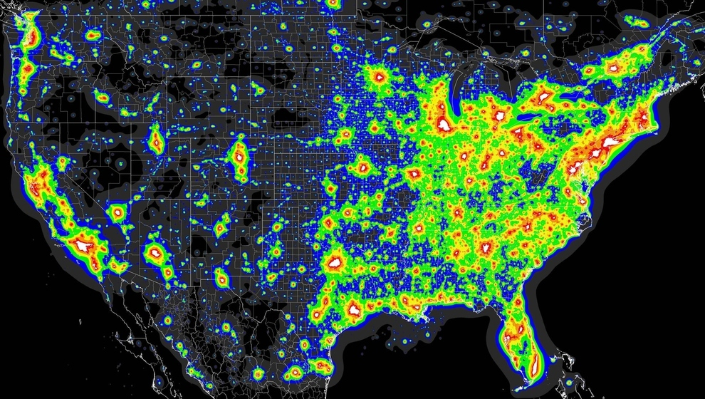 Un mapa de la peor contaminación lumínica de Estados Unidos: