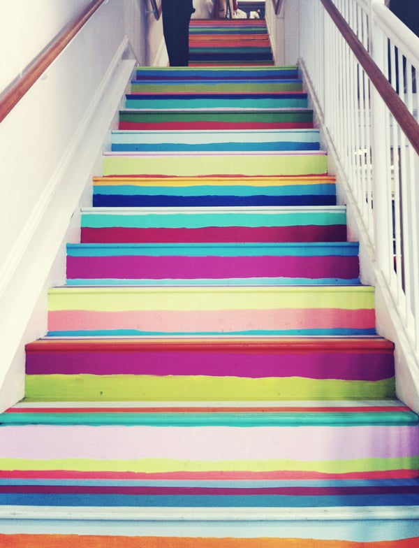 Wonky painted stripes add color and character. Found on this post.