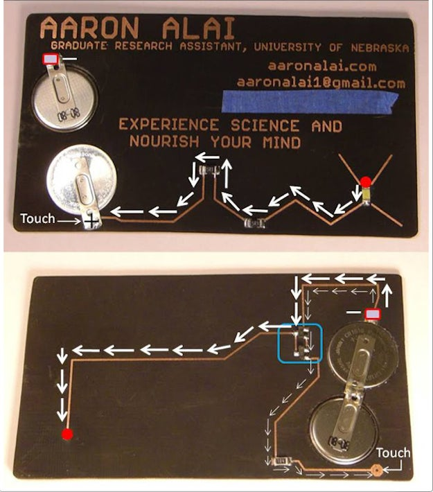 This fully operational business card demonstrates how transistors amplify current.