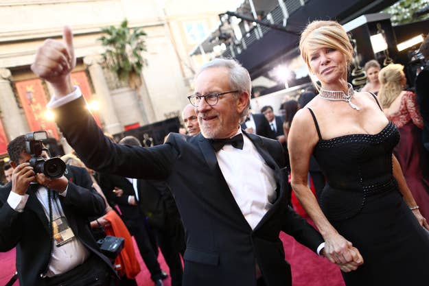 Director Steven Spielberg and wife Kate Capshaw arrive at the Oscars on Feb. 24, 2013 in Hollywood, Calif.