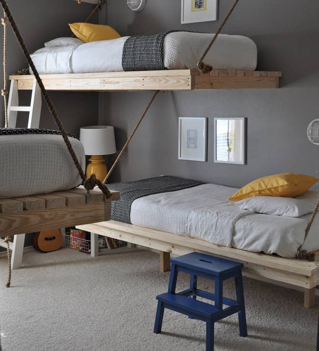 These hanging beds are based off of this hanging daybed plan. This room  fits 3