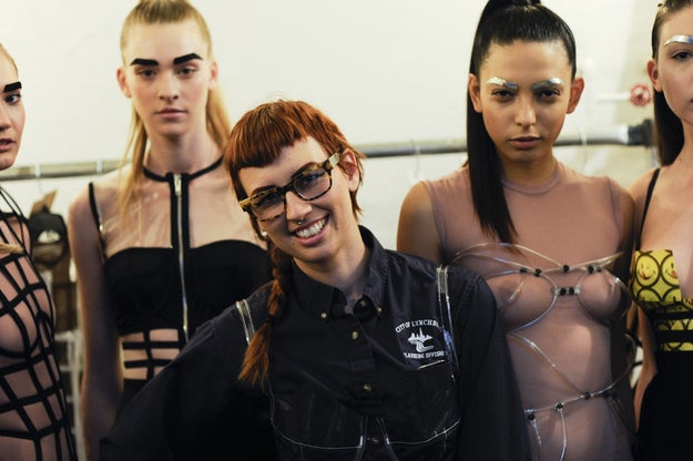 This was Chromat designer Becca McCharen's first Fashion Week show, funded by a sudden order she received to dress 32 backup dancers for Beyoncé's performance at the Superbowl. As she walked through the crowd and greeted friends, she seemed effusively happy and proud.