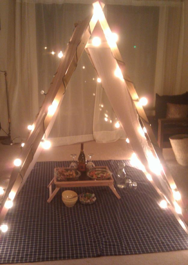 Build a cuddling teepee.